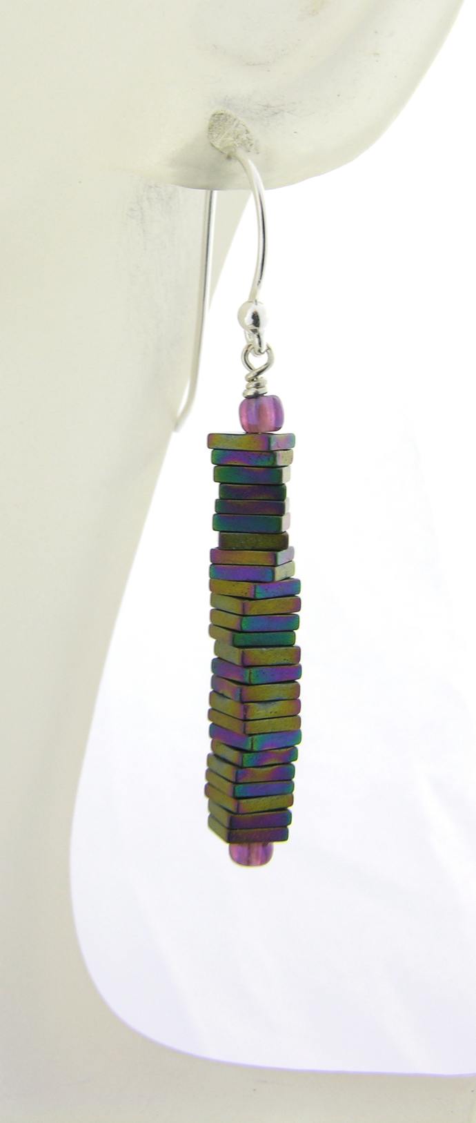 Rainbow Pyrite Column Earrings