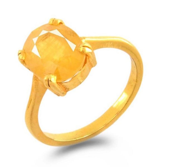 6.25 ratti Natural Yellow Sapphire Certified Gemstone Pukhraj Birthstone Gold