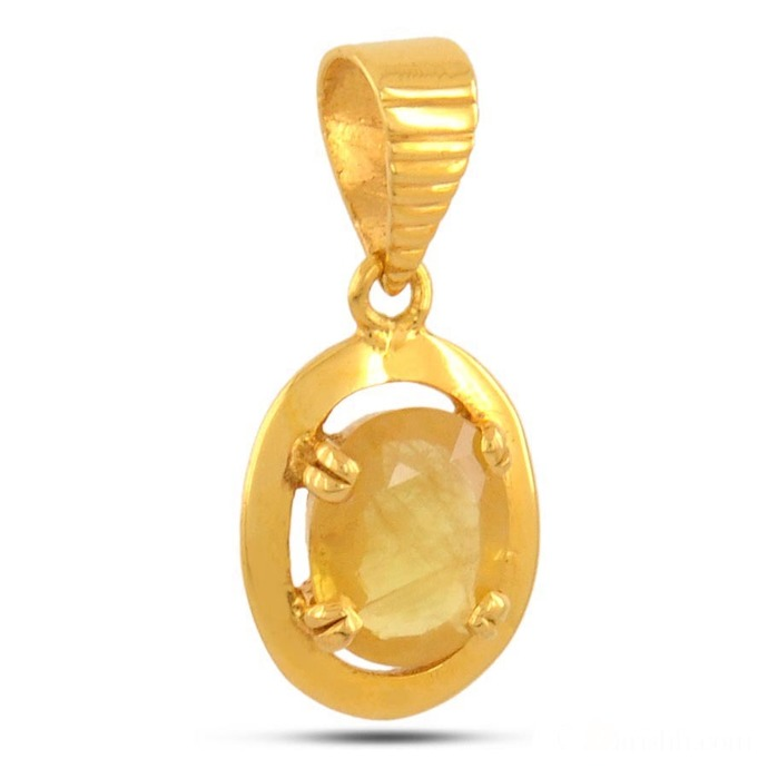 5.59 ct (6.25 Ratti) Natural Yellow Sapphire Gemstone Pukhraj Birthstone Gold