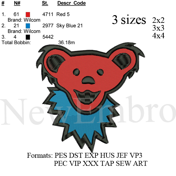 Bear embroidery design , embroidery pattern .   No 336 ... 3 sizes