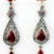 1.18 ct Rosecut Diamond Ruby Silver Earrings, Natural Ruby