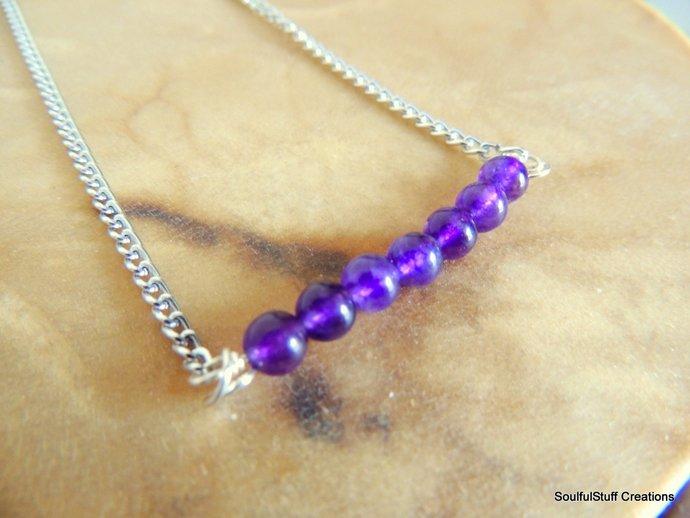Amethyst Gemstone Bar Necklace, Layering Jewelry, Boho