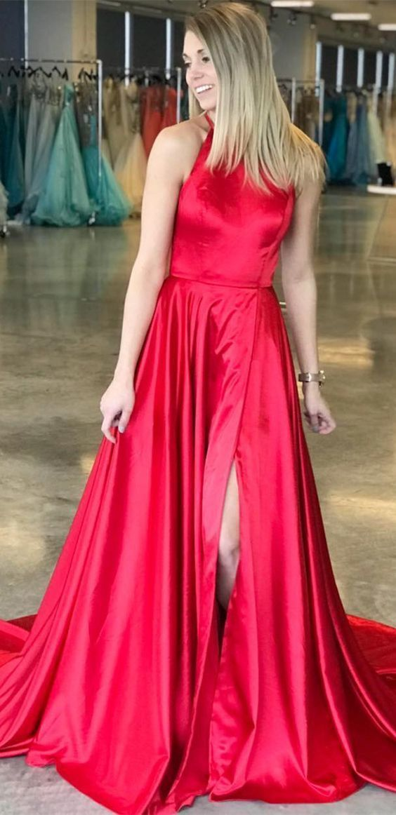elegant A-line red long prom dress with side slit,prom dress party dress formal