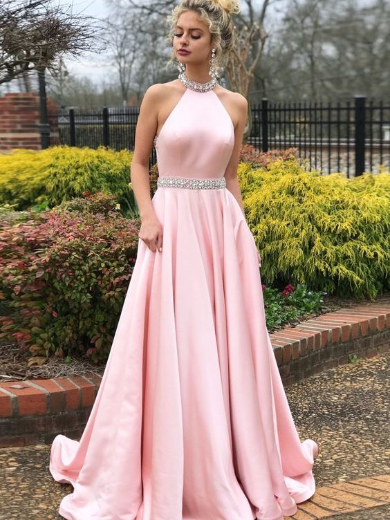 Simple A-line Prom Dresses Pink High Neck Cheap Beading Prom Dress Evening