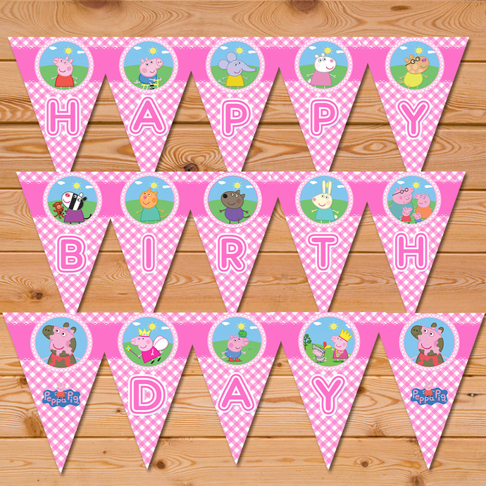 Peppa Pig Banner Pink Checkered * Peppa Pig Happy Birthday Banner * Peppa Pig