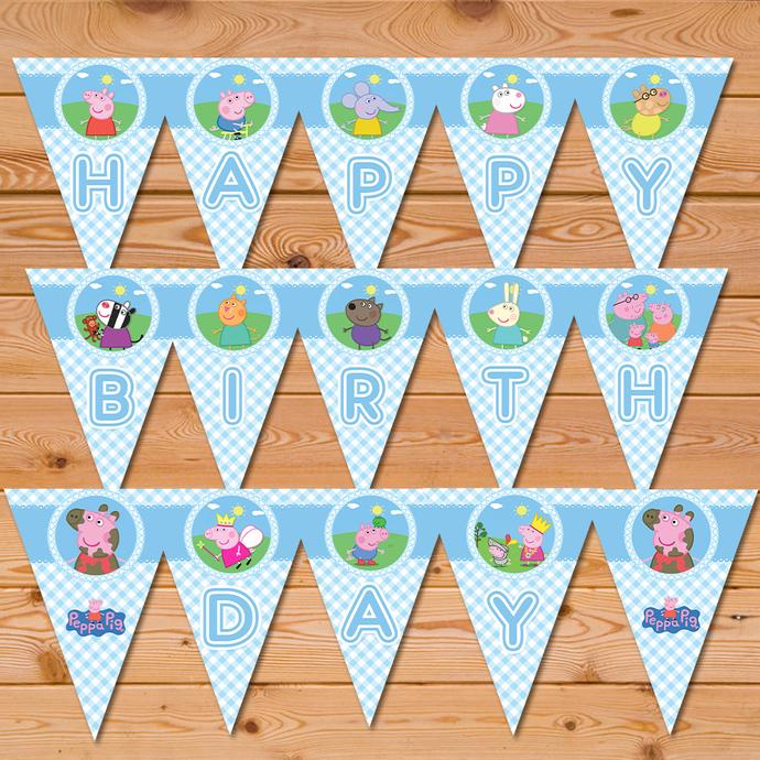 Peppa Pig Banner Blue Checkered * Peppa Pig Happy Birthday Banner * Peppa Pig