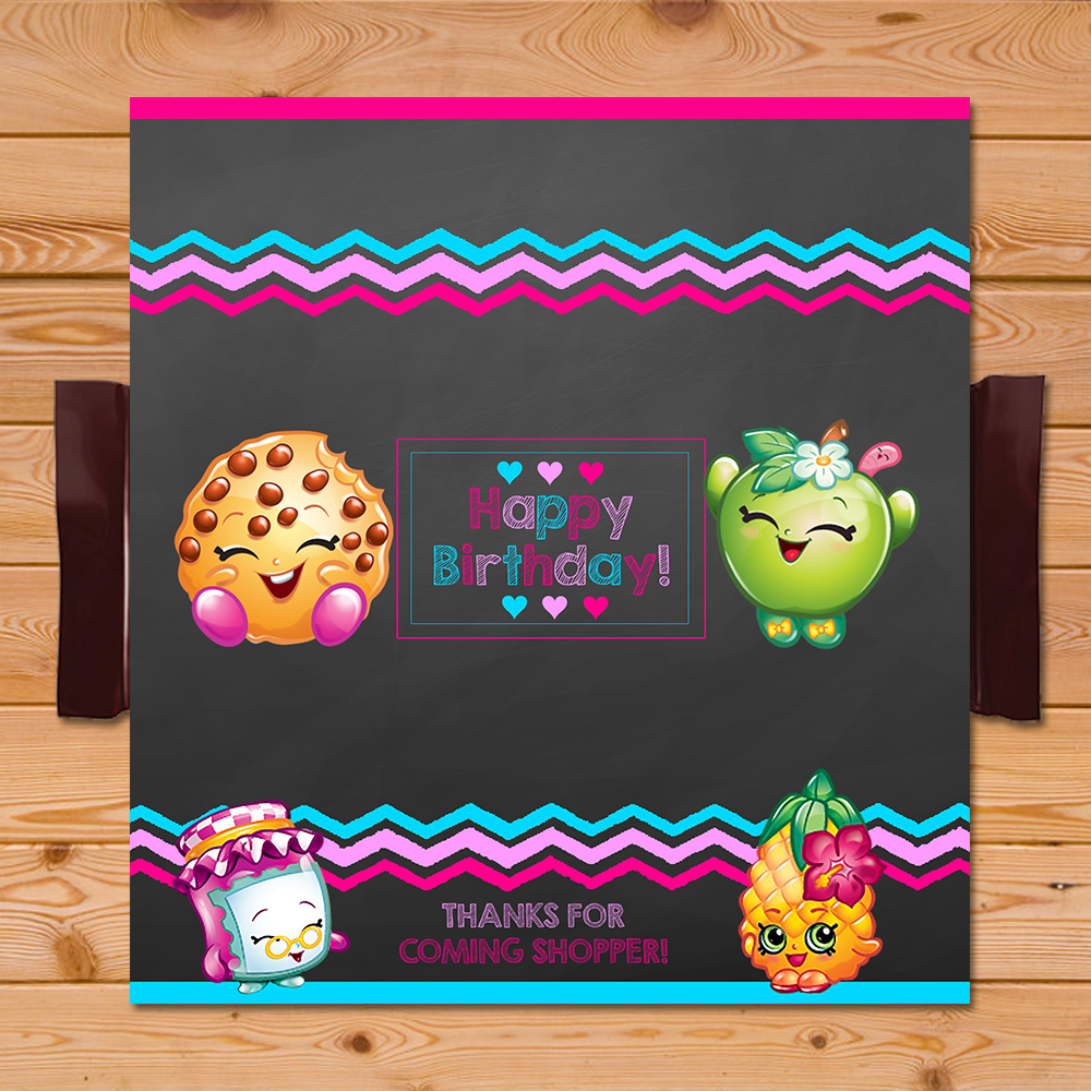 Shopkins Candy Wrapper Pink Chalkboard * Shopkins Chocolate Bar Label * Shopkins Party Favors * Shopkins Birthday Party Supplies