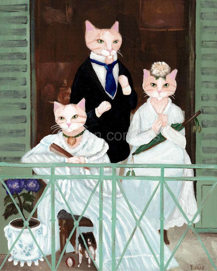 Edouard Manet Balcony Cats Cat Folk Art Print 8x10, 11x14