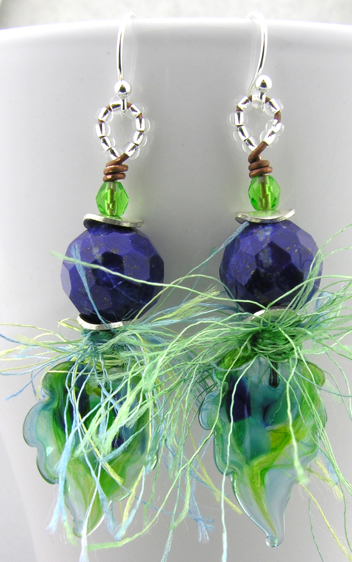 Leaves and Lapis Earrings - blue lime green lapis leaf leaves sterling fun