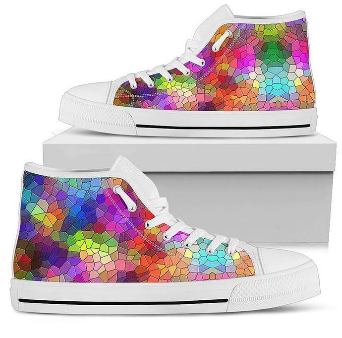 Custom Made to Order Womens Hi Top Sneaker Mosaic Style Art Hi Top Sneaker