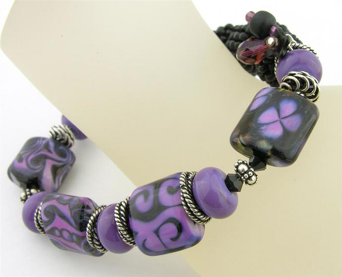 Purple and Darkness Bracelet - lampwork, beadweave, sterling, abstract, twist,