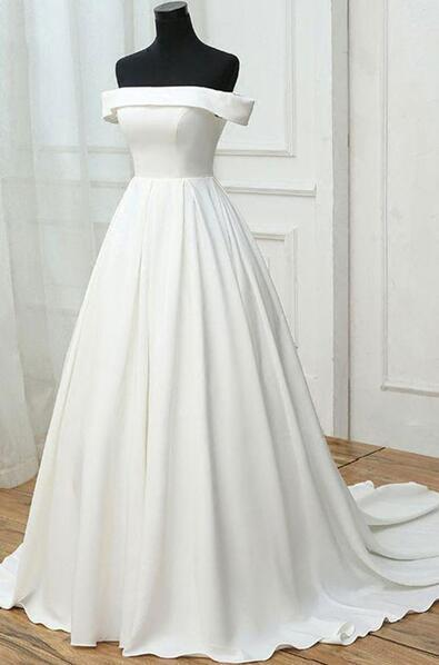 Simple white wedding dress,satin off shoulder by prom dresses on