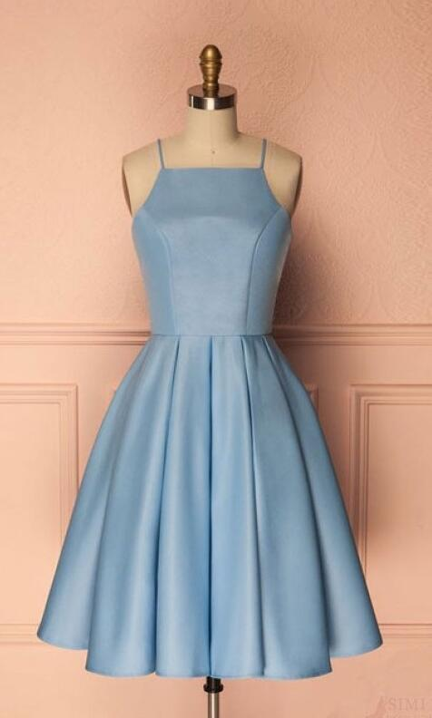 Sky Blue Homecoming Dresses,Simple short Prom by prom