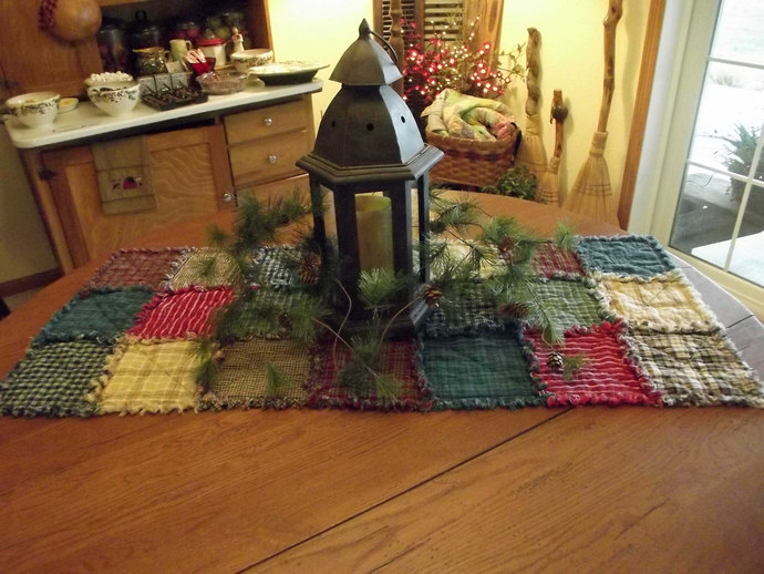 Rustic Rag Quilt Table Runners   Made To Order, Handmade, Farmhouse Decor,