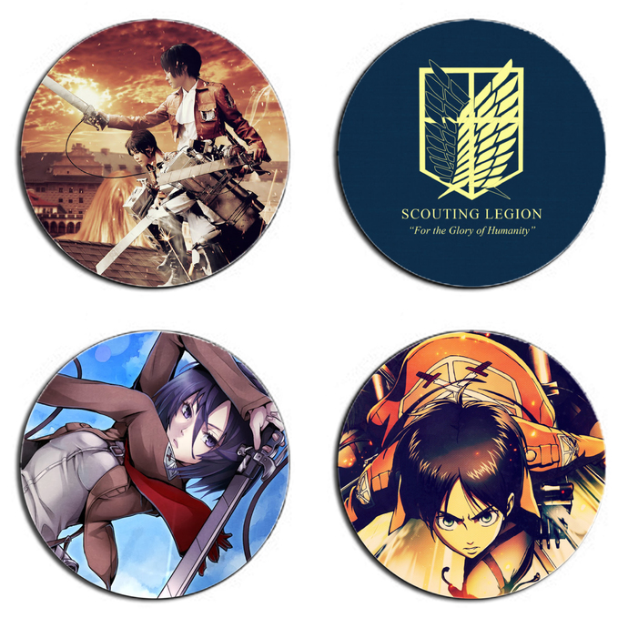 Attack On Titan Set wooden Drink Coasters
