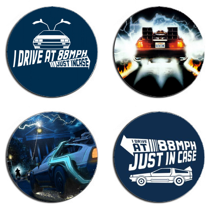 Back to the Future Set wooden Drink Coasters