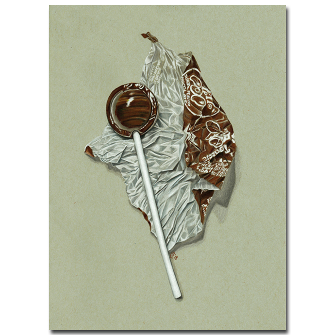 TOOTSIE POP chocolate lollipop sweet candy painting Sandrine Curtiss ORIGINAL