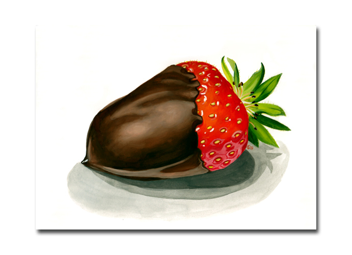 STRAWBERRY 3 chocolate covered candy painting Sandrine Curtiss ORIGINAL art