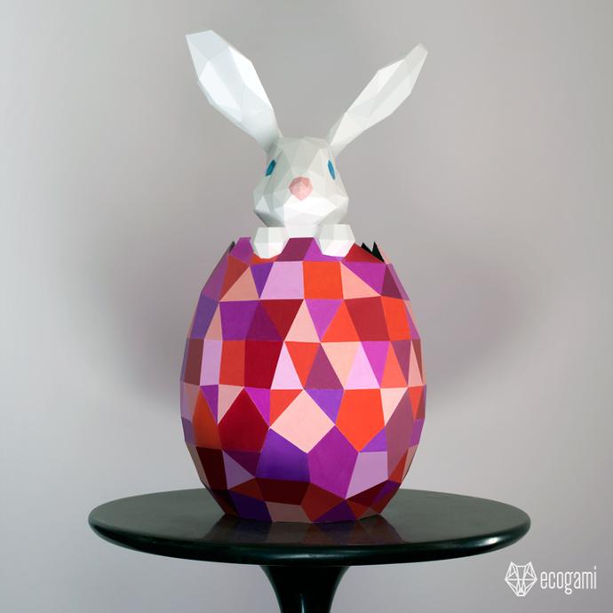 Easter egg & Easter rabbit papercraft | DIY Easter décor | 3D papercraft
