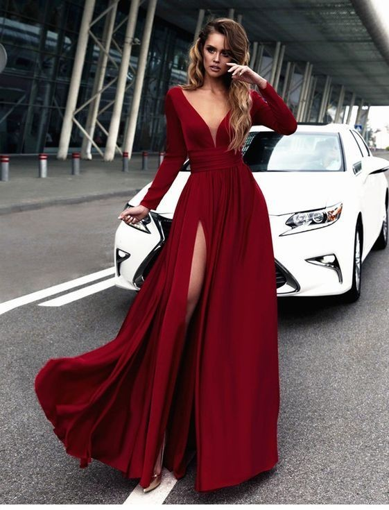 Sexy Red Prom Dress V-neck Long Sleeves Prom Dresses Chiffon Evening Dress