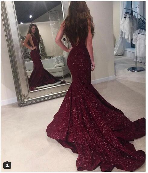Sexy Burgundy Prom Dress Mermaid Prom Dresses Deep V-neck Sequined Lace Long