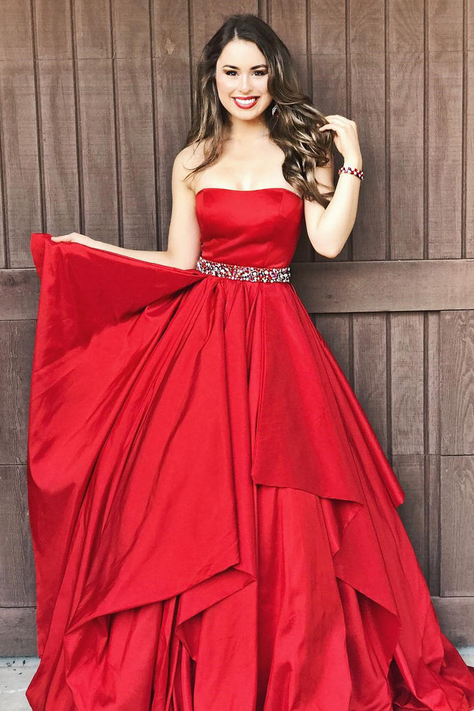 Gorgeous Strapless Red Long Prom Dress Formal Dress