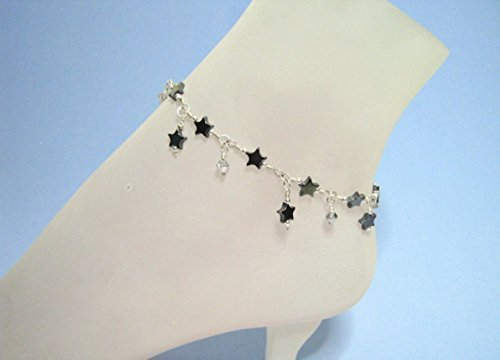 Sterling Silver Hematite Stars and Sparkle Anklet
