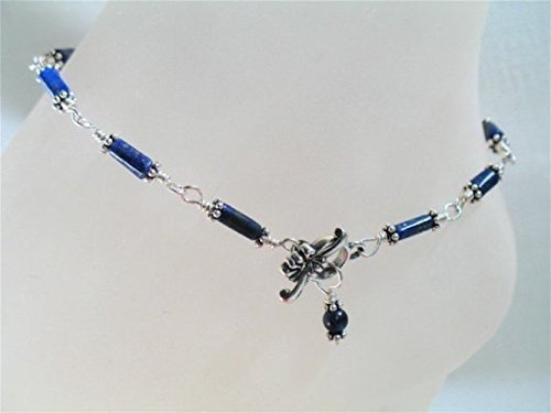 Rich Lapis Sterling Silver Anklet Wire Wrapped