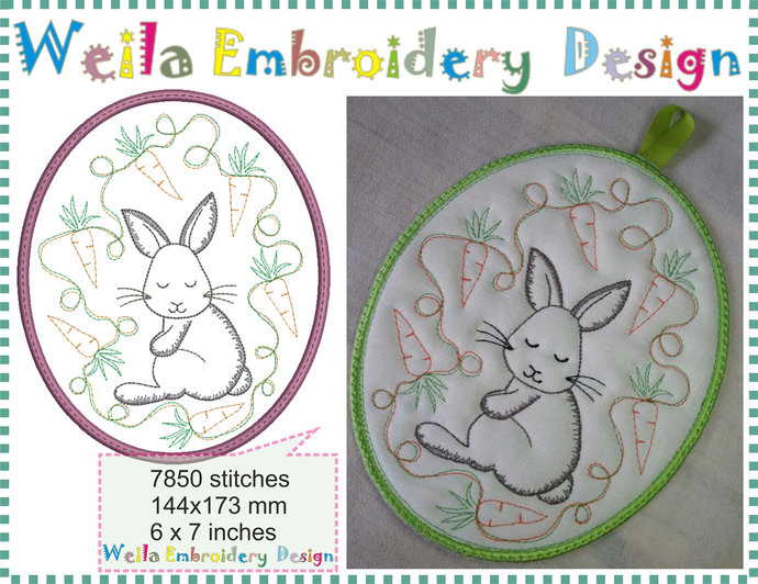 "Happy Easter Rabbit carrots 6x7"" potholder coasters mugrug Machine Embroidery"