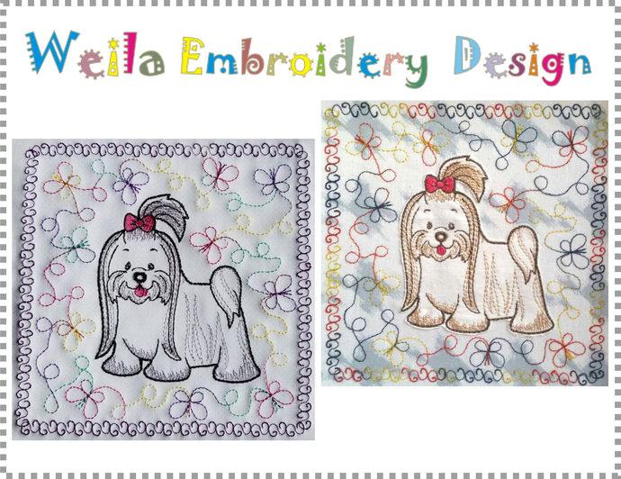 Quilt block Maltese Dog Machine Embroidery Design Patterns Design-baby blanket