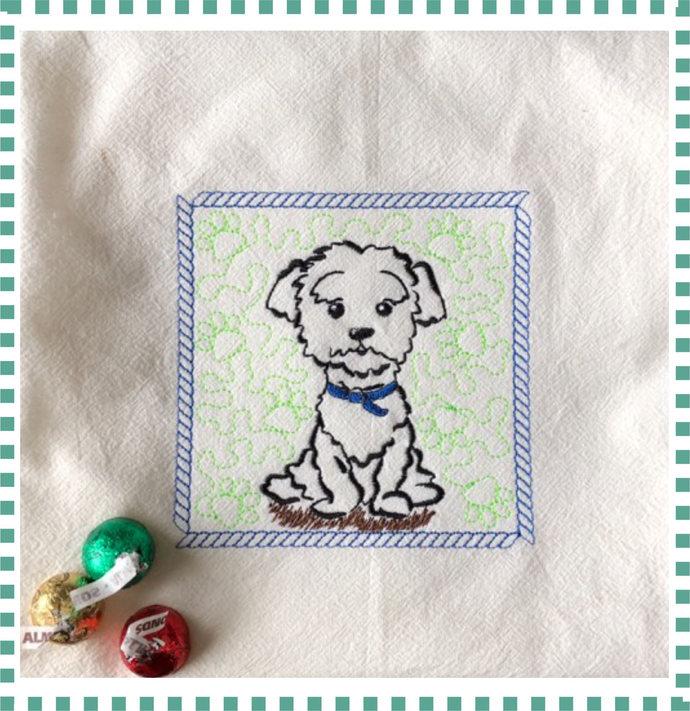 Quilt block Dog 3  Lhassa Apso Bichon frize Machine Embroidery Design Patterns