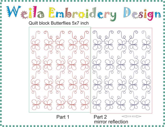 Quilt block Butterflies 5x7 Machine Embroidery Design Patterns baby blanket