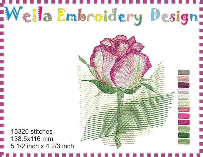Watercolor Rose Machine Embroidery By Weilaembroiderydesign On Zibbet