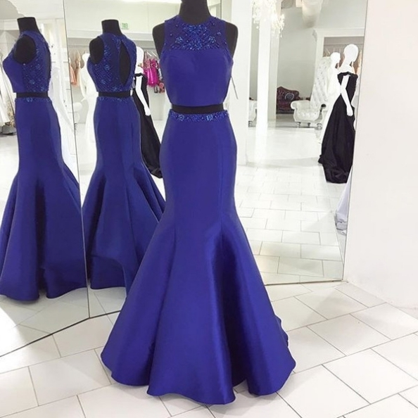 Royal Blue Prom Dresses,Satin Evening Dress,Long Prom Dresses,Two Pieces Prom