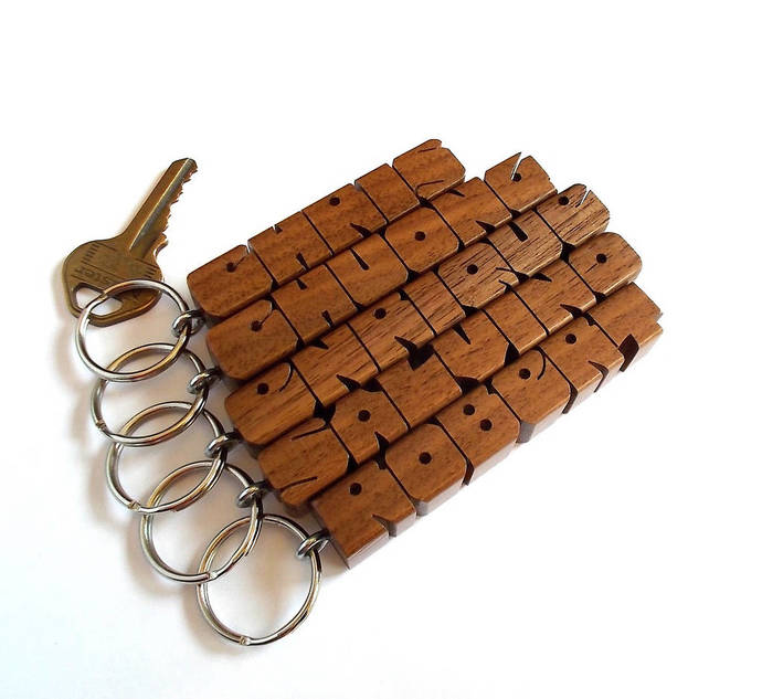 Name Keychain in Walnut Wood, Custom Carved to Order