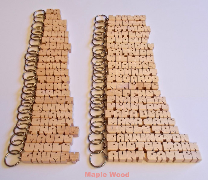"20 NAME SPECIAL - Bulk Wood Name Keychains (Standard Size 1/2"") - Personalized -"