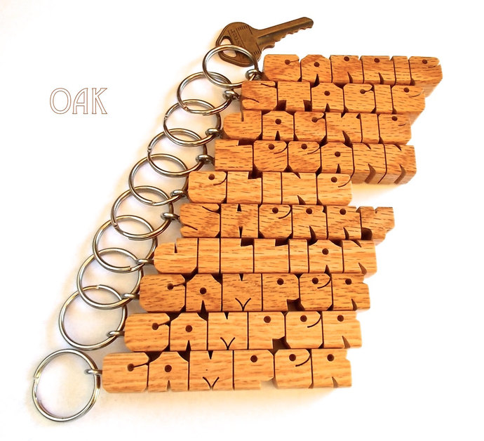10 NAME SPECIAL - Wood Name Keychains, Carved to Order, Choice of 4 Woods - FREE