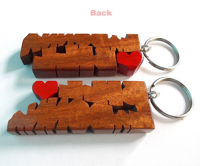Wave Keychain in Mahogany Wood - Custom Names Carved to Order