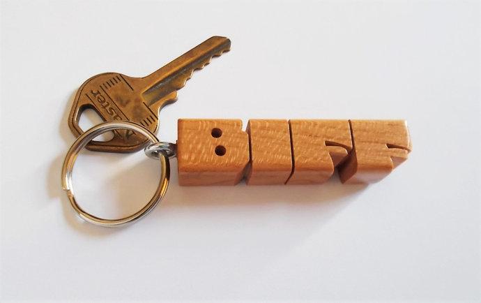 BIFF - Sample Name Keychain in Cherry Wood