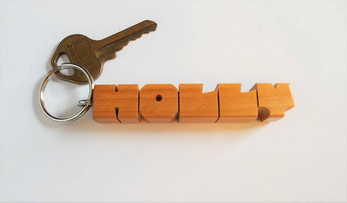 HOLLY - Sample Name Keychain in Cherry Wood