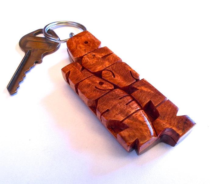 Wave Keychain in Amboyna Burl and Mahogany Wood - Custom Names Carved to Order