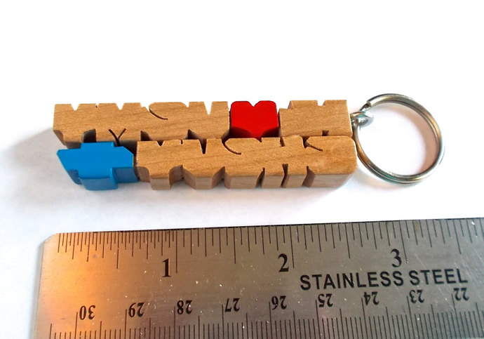 SAMPLE SALE - I Love My Chevy - 2-Liner Keychain - Maple Wood