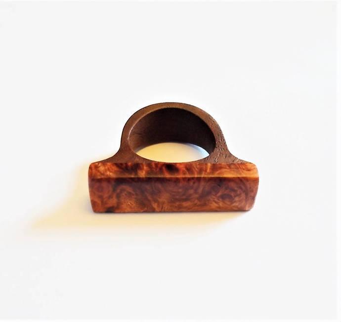 Wooden Ring, Amboyna Burl on Walnut Wood - Size 10