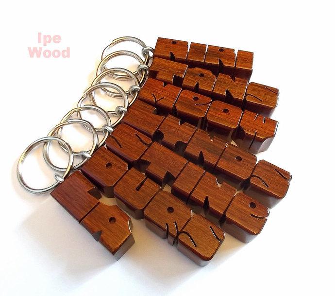 Name Keychain in Ipe Wood, Custom Carved to Order