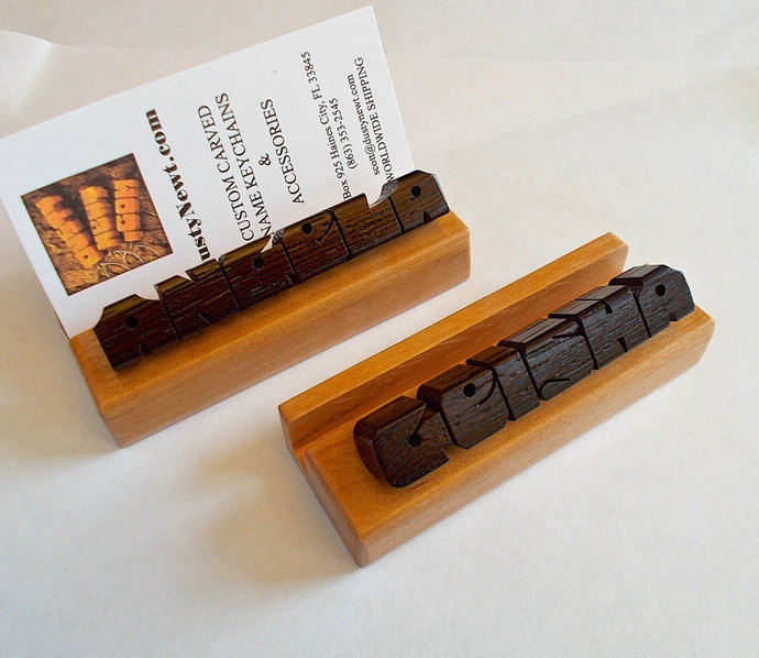 Desk Name / Business Card Holder, Wenge and Cherry Woods, Custom Carved to Order