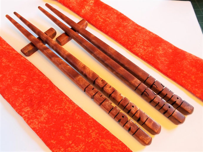 Name Chopsticks in Sapele Pommele Wood, Personalized , Custom Carved to Order