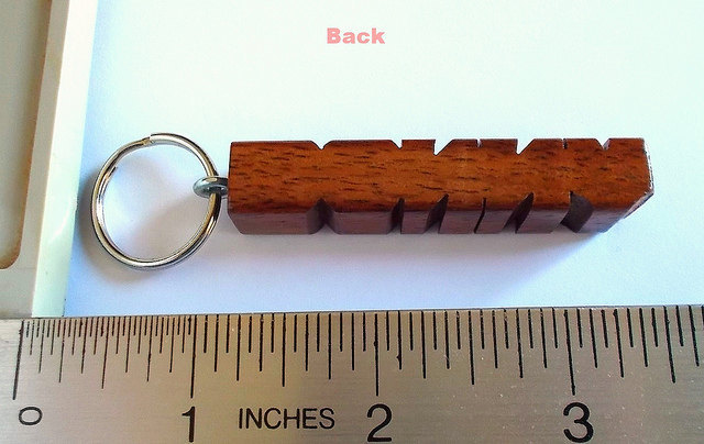 Name Keychain in Koa Wood, Custom Carved to Order