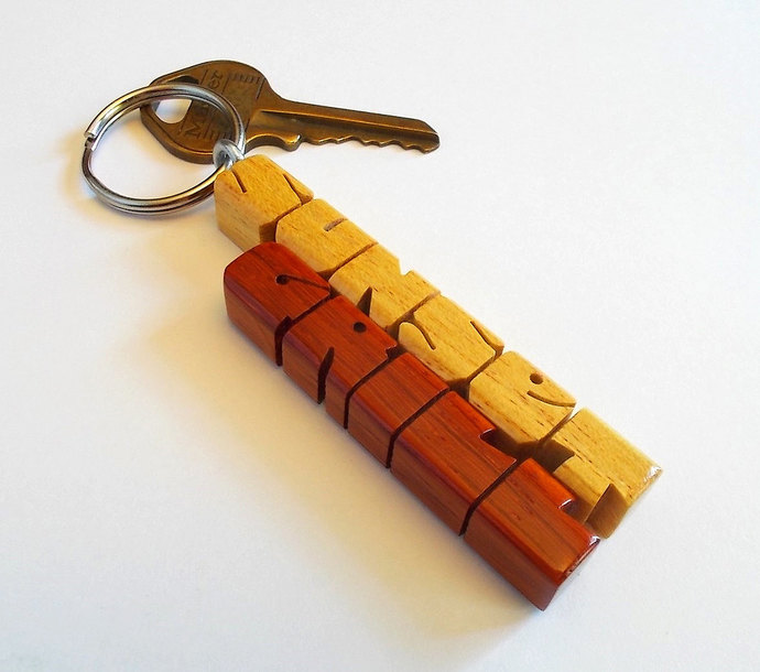 Pau Amarello and Paduak Woods 2-Liner Keychain, Custom Carved to Order