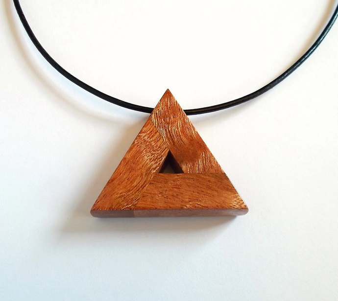 Sapele Pommele Wood, Delta Triangle Pendant with Cord