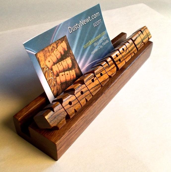 Custom Desk Name / Business Card Holder - Bocote and Walnut Woods